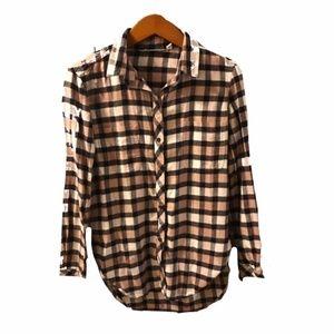 Athleta | mauve oversized flannel button up shirt